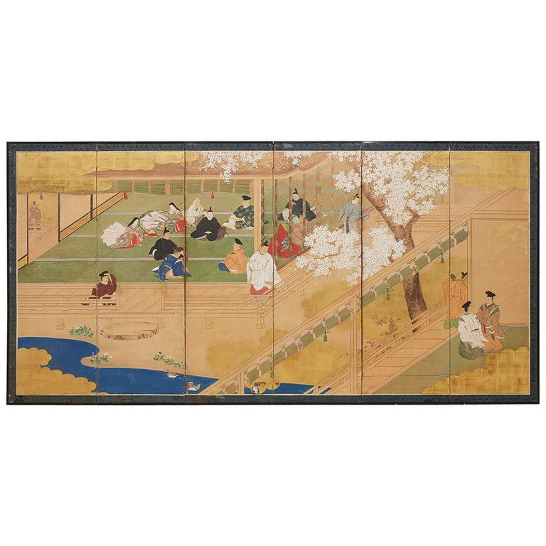 Japanese Edo Period Kano School Six Panel Screen For Sale