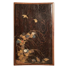 Japanese Edo Period Lacquer Panel with Gold, Mother of Pearl and Coral Inlay