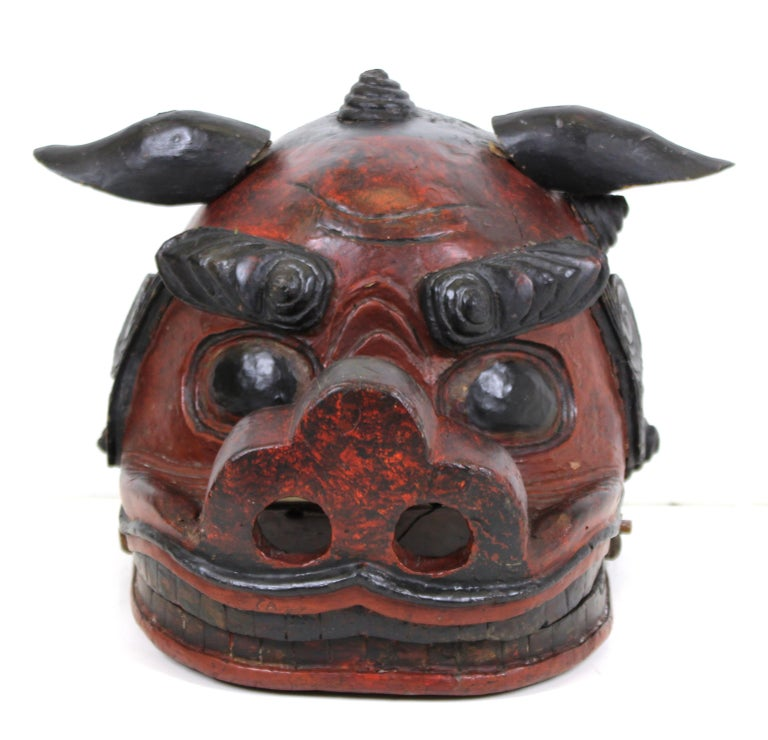 A rare Edo period (17th century-18th century) Japanese lion mask for the Gion Festival. This mask was part of a two-man costume, with one man holding the mask and the other at the back covered with fabric to perform the traditional Lion Dance. An