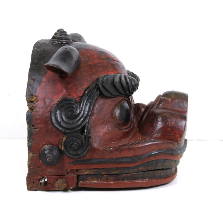 18th Century and Earlier Japanese Edo Period Lion Mask For Sale