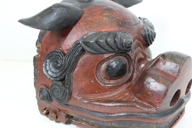 Japanese Edo Period Lion Mask For Sale 2