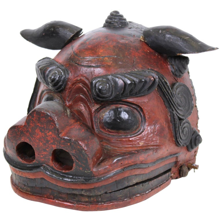 Japanese Edo Period Lion Mask For Sale