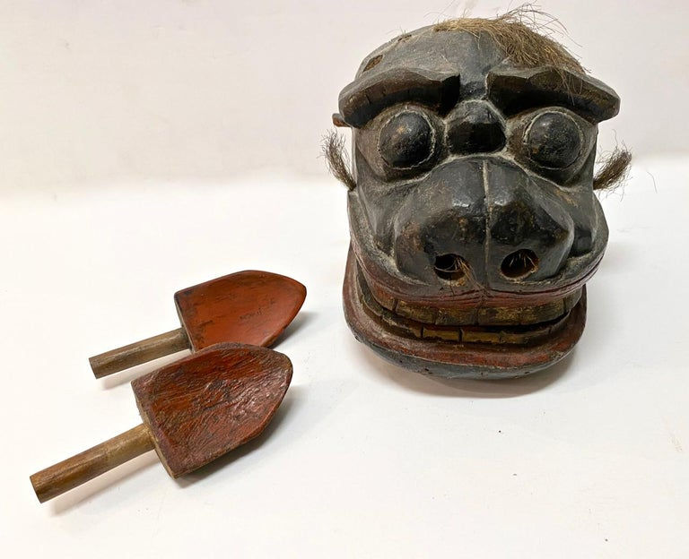 Hand-Carved Japanese Edo Period Lion Mask II For Sale