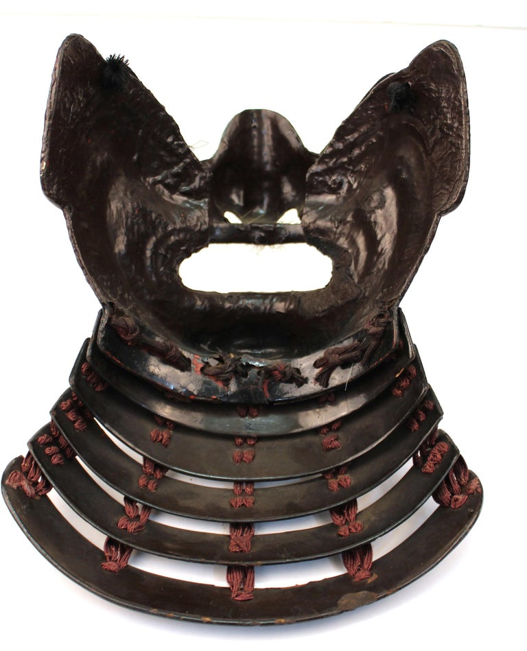 Japanese Edo Period Mempo Armor Mask in Lacquered Leather over Iron For Sale 7