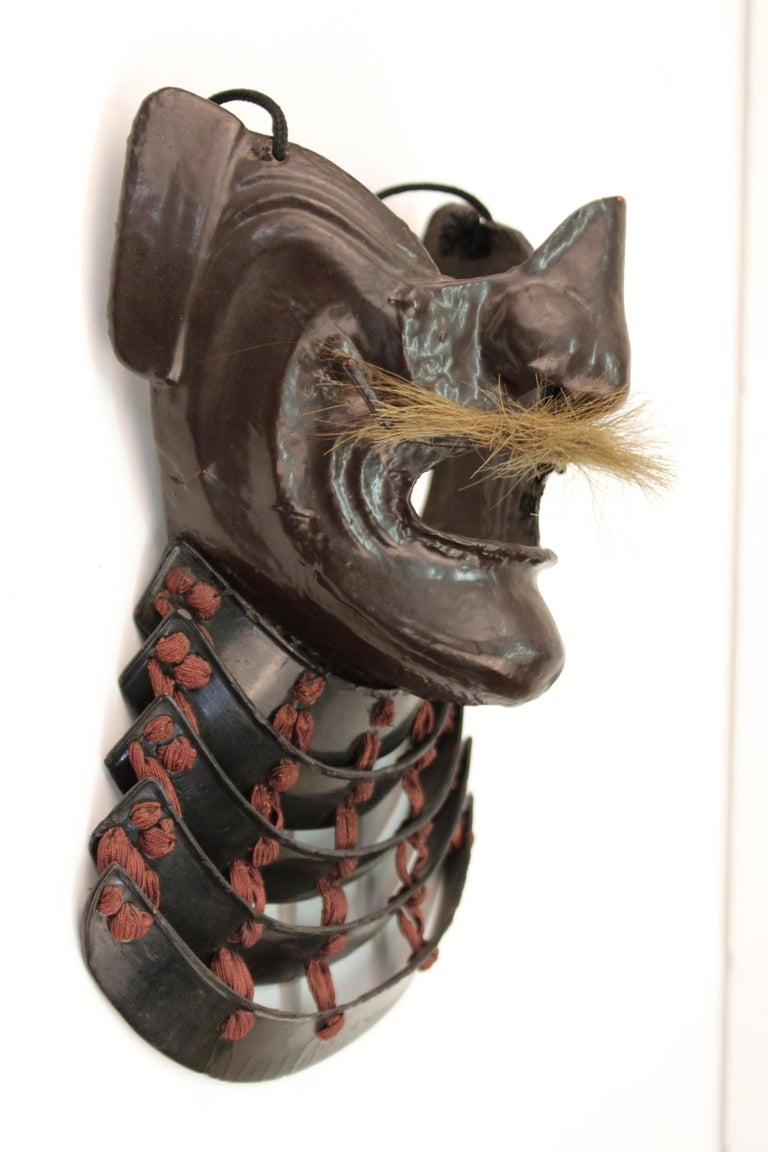 Japanese Edo Period Mempo Armor Mask in Lacquered Leather over Iron For Sale 3