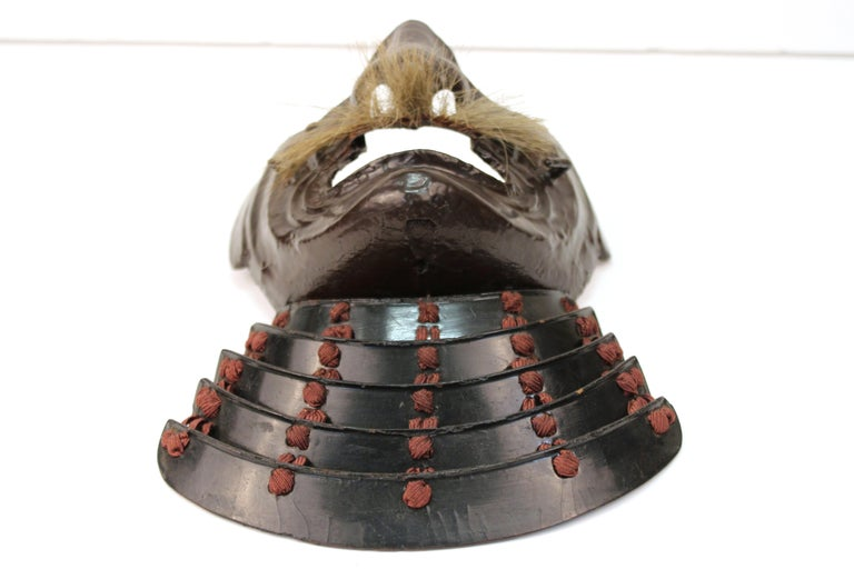 Japanese Edo Period Mempo Armor Mask in Lacquered Leather over Iron For Sale 4