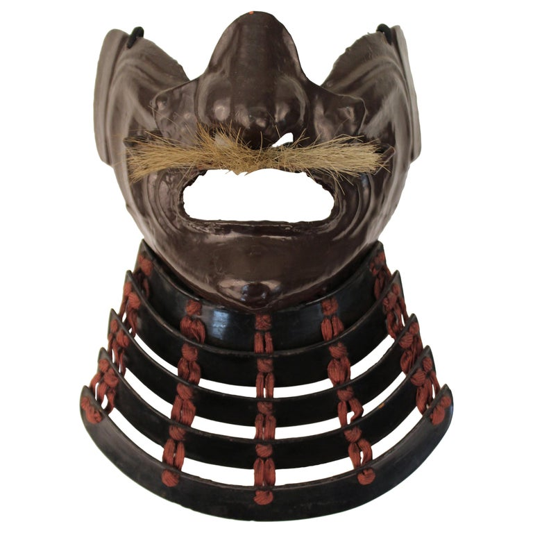 Japanese Edo Period Mempo Armor Mask in Lacquered Leather over Iron For Sale