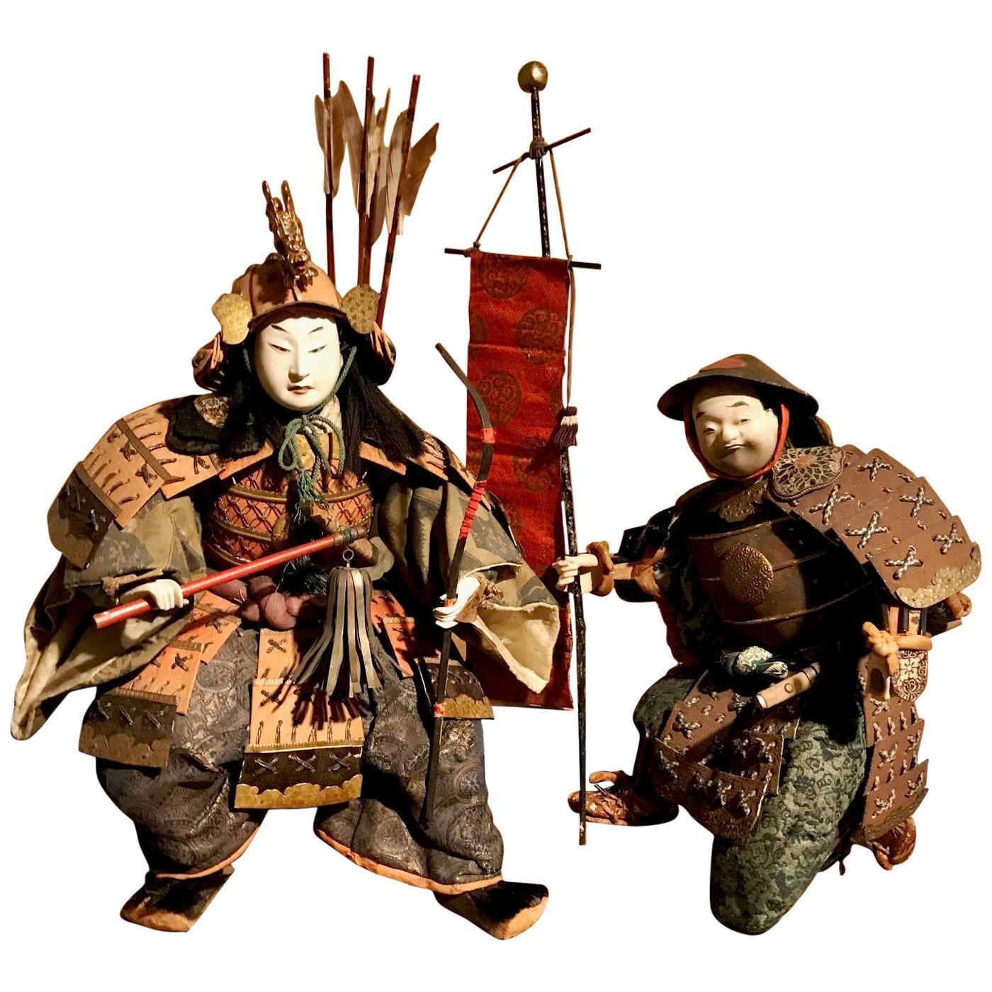 Japanese Edo Period Musha Ningyo Doll of Samurai and Attendant