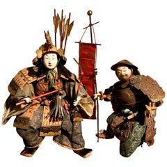Japanese Meji Period Musha Ningyo Doll of Samurai and Attendant