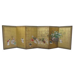 Japanese Edo Period Six-Panel Painted Screen