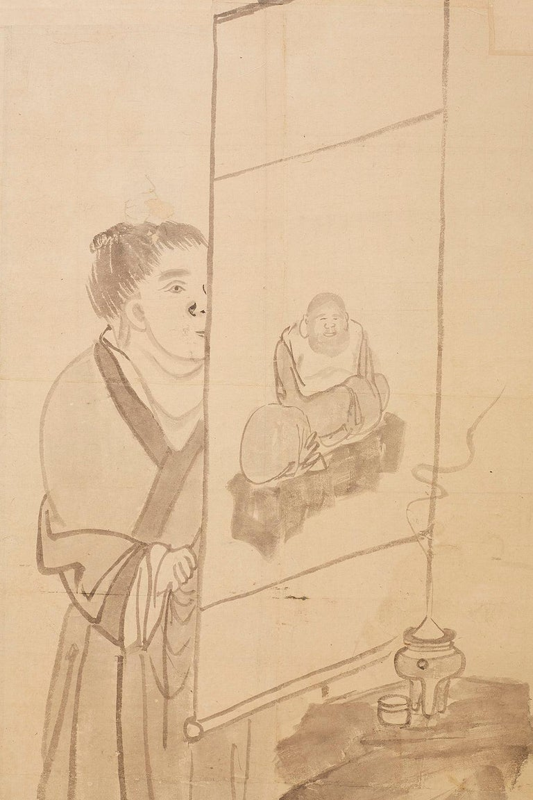 Japanese Edo Period Six Panel Screen of Chinese Scholars For Sale 4