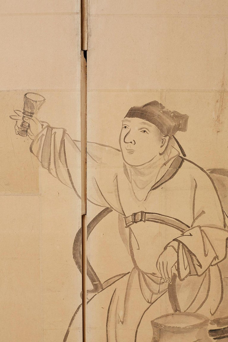 Japanese Edo Period Six Panel Screen of Chinese Scholars For Sale 7