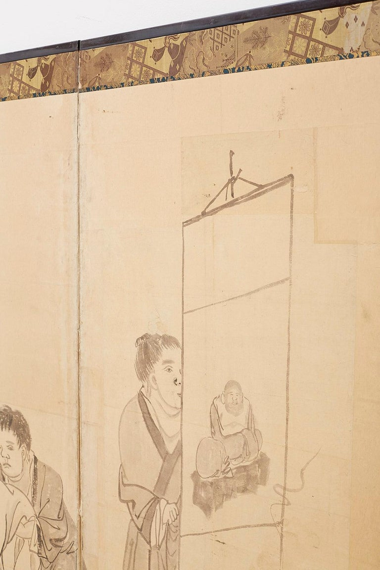 Japanese Edo Period Six Panel Screen of Chinese Scholars For Sale 9