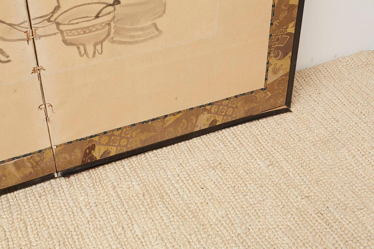 Japanese Edo Period Six Panel Screen of Chinese Scholars For Sale 10
