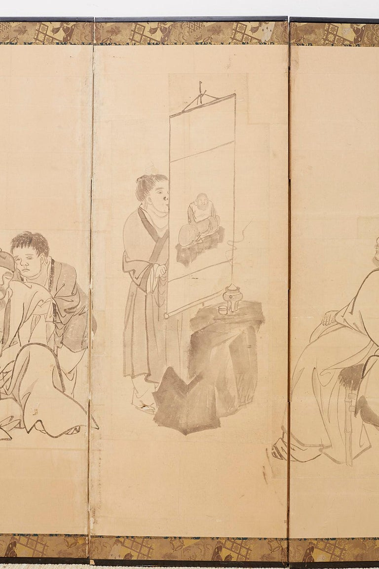 Hand-Crafted Japanese Edo Period Six Panel Screen of Chinese Scholars For Sale