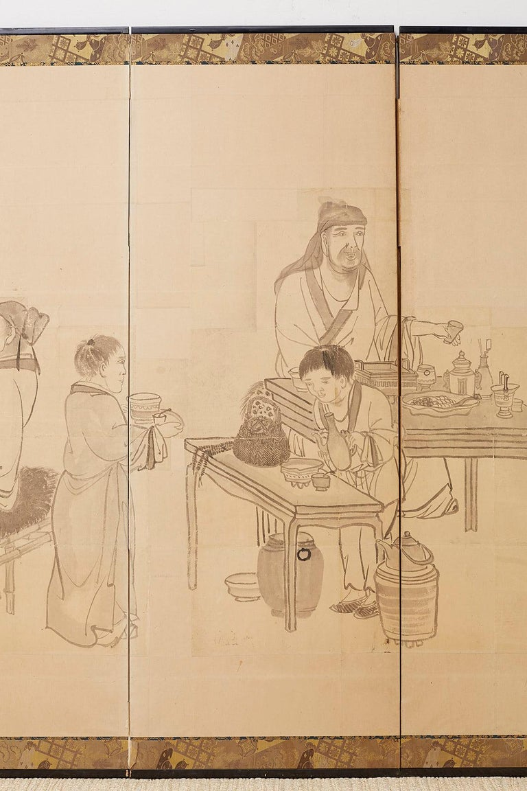 19th Century Japanese Edo Period Six Panel Screen of Chinese Scholars For Sale