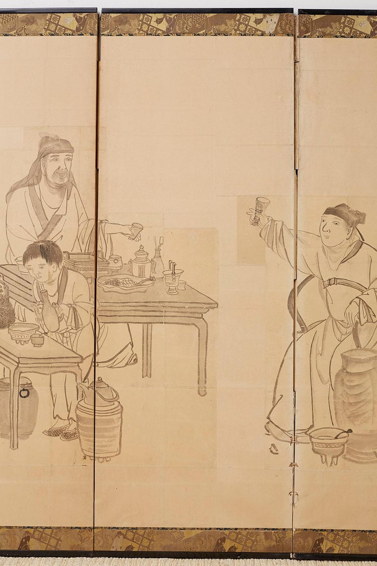 Wood Japanese Edo Period Six Panel Screen of Chinese Scholars For Sale
