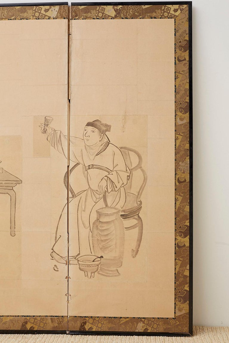 Japanese Edo Period Six Panel Screen of Chinese Scholars For Sale 1