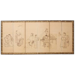 Japanese Edo Period Six Panel Screen of Chinese Scholars