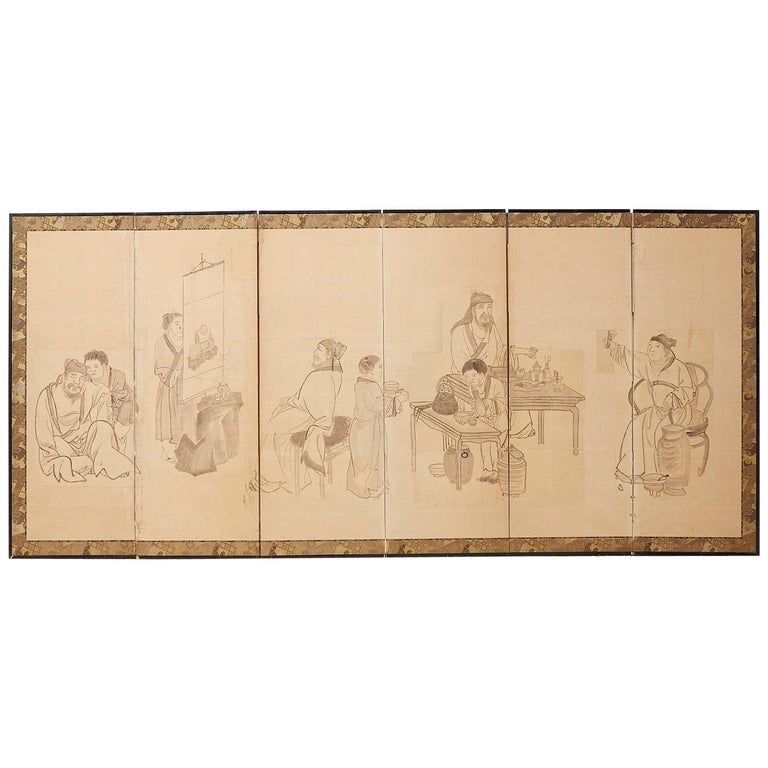 Japanese Edo Period Six Panel Screen of Chinese Scholars For Sale