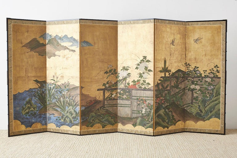 Japanese Edo Period Six-Panel Screen Summer Landscape For Sale 11