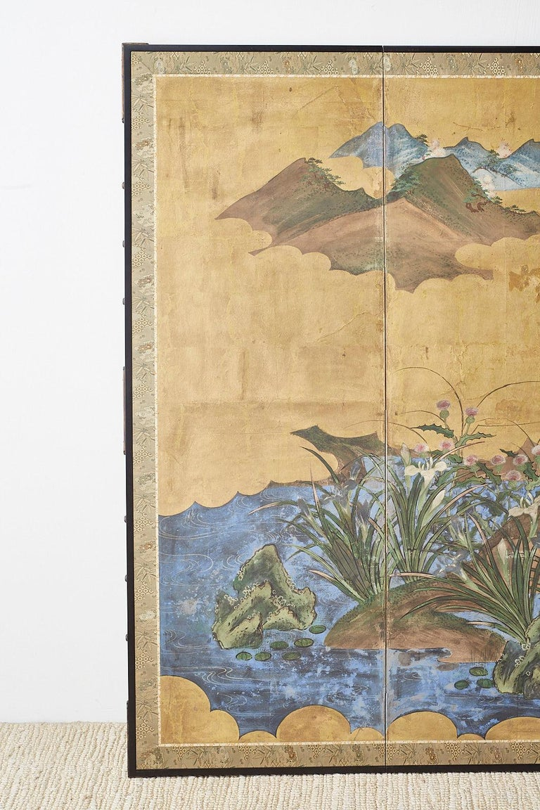 Hand-Crafted Japanese Edo Period Six-Panel Screen Summer Landscape For Sale