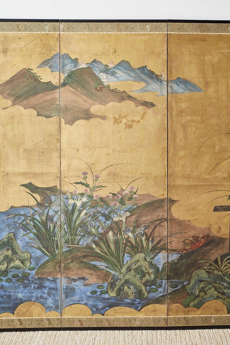 Japanese Edo Period Six-Panel Screen Summer Landscape In Good Condition For Sale In Oakland, CA