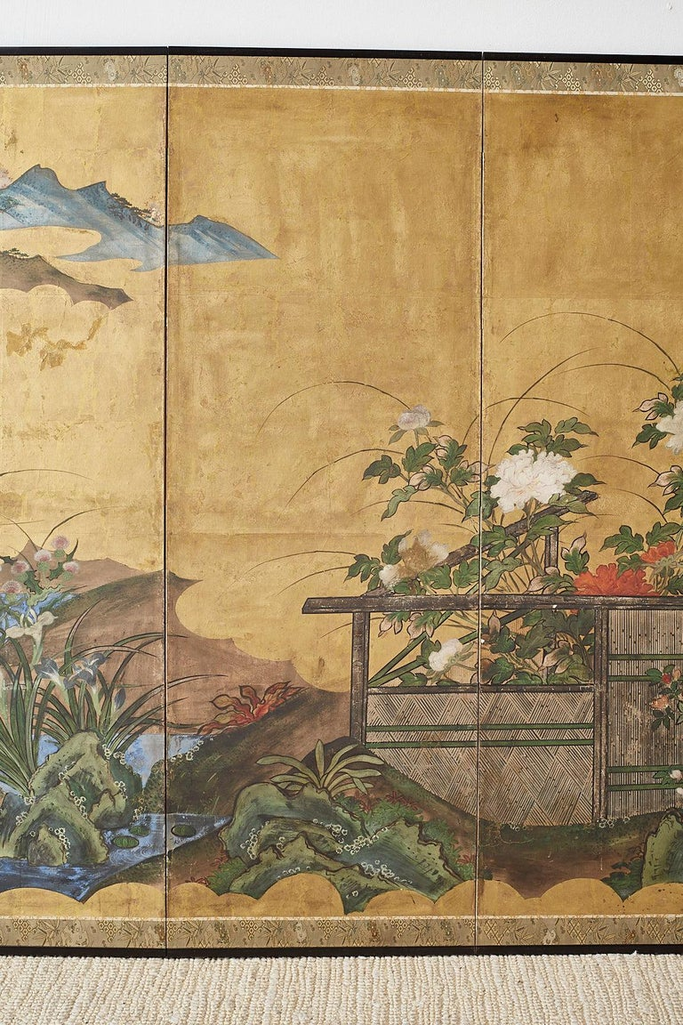 18th Century and Earlier Japanese Edo Period Six-Panel Screen Summer Landscape For Sale