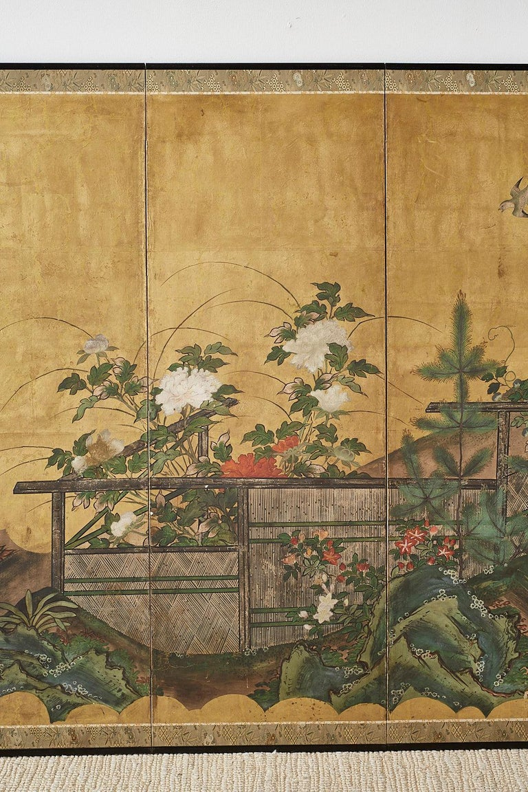 Wood Japanese Edo Period Six-Panel Screen Summer Landscape For Sale