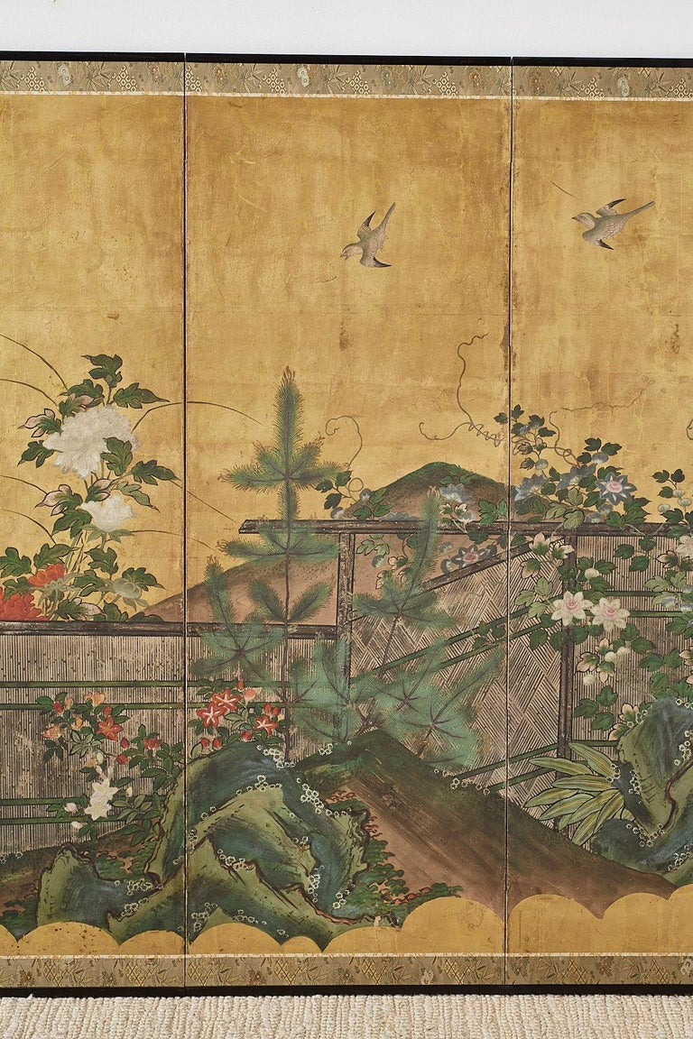 Japanese Edo Period Six-Panel Screen Summer Landscape For Sale 1