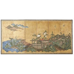 Japanese Edo Period Six-Panel Screen Summer Landscape