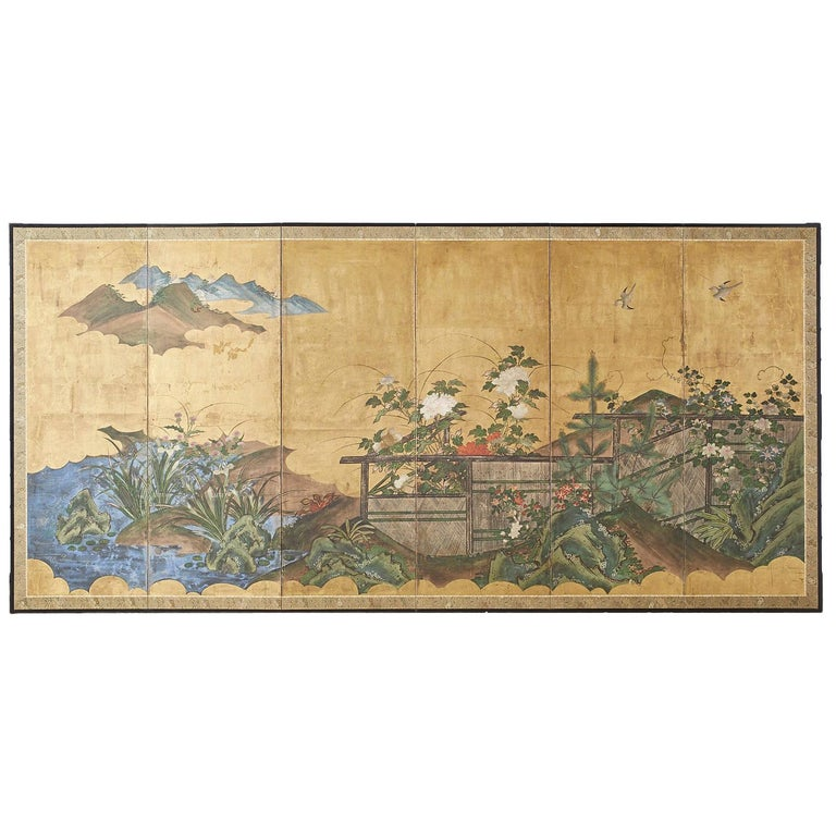 Japanese Edo Period Six-Panel Screen Summer Landscape For Sale