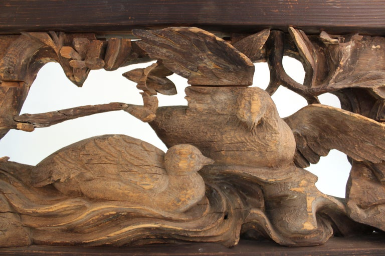 Japanese Edo Period Wood Temple Carving with Doves For Sale 5