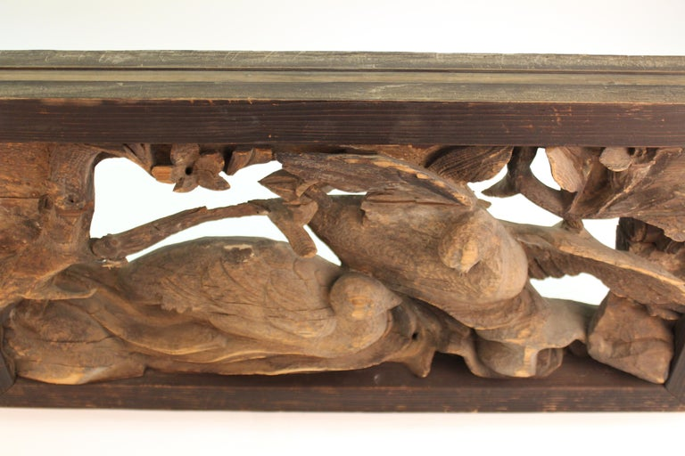 Japanese Edo Period Wood Temple Carving with Doves For Sale 6