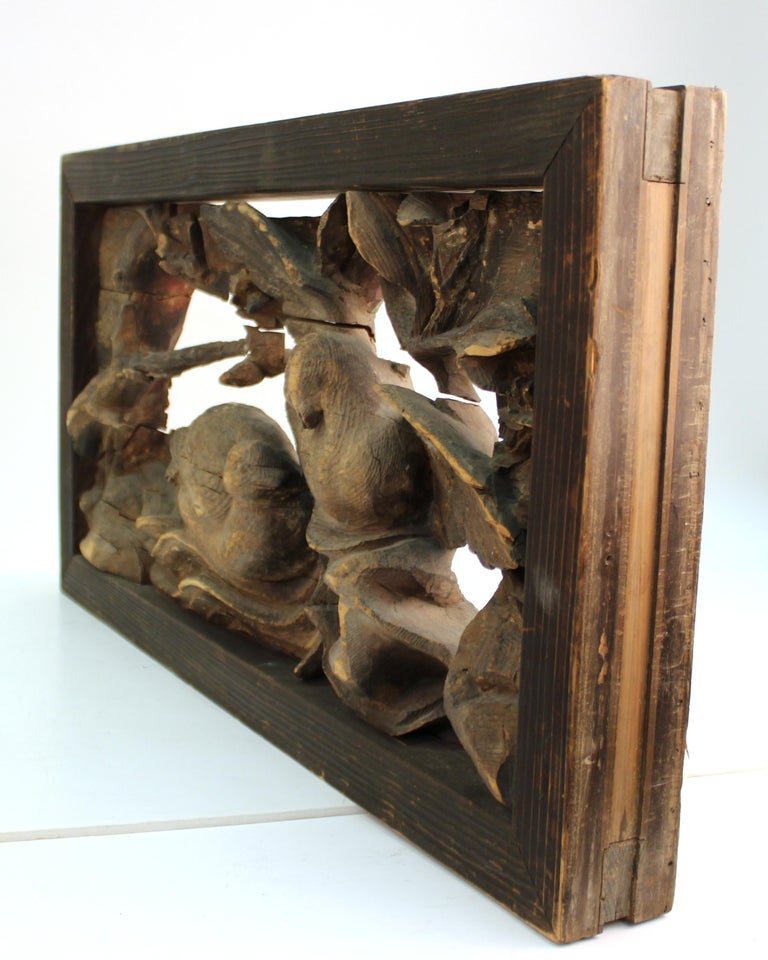 18th Century and Earlier Japanese Edo Period Wood Temple Carving with Doves For Sale