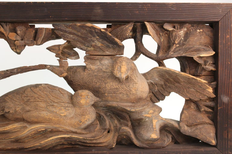 Japanese Edo Period Wood Temple Carving with Doves For Sale 1