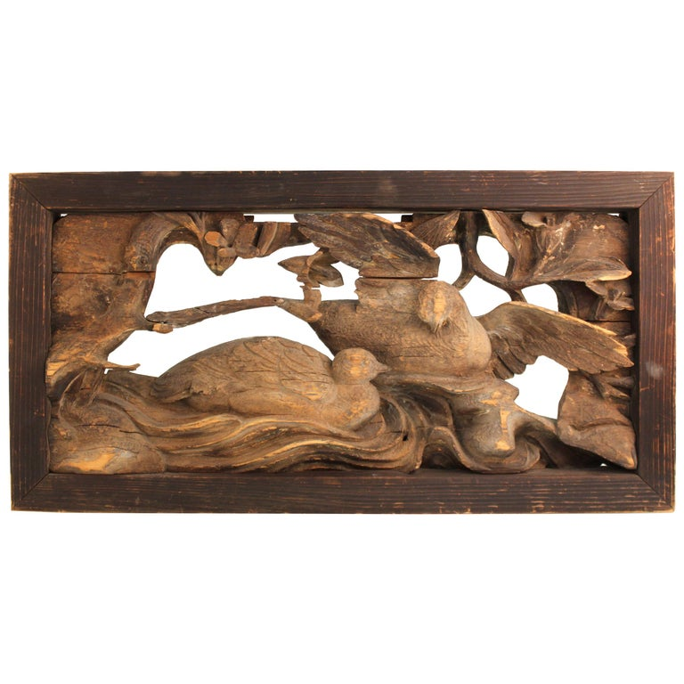 Japanese Edo Period Wood Temple Carving with Doves For Sale