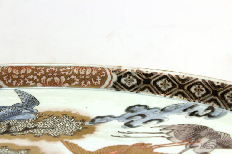 Japanese Meiji Porcelain Charger with Fish Theme For Sale 6