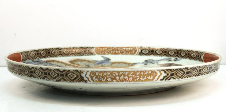 Japanese Meiji Porcelain Charger with Fish Theme For Sale 7