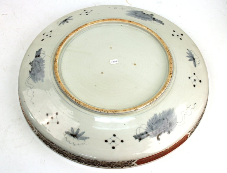 Japanese Meiji Porcelain Charger with Fish Theme For Sale 9