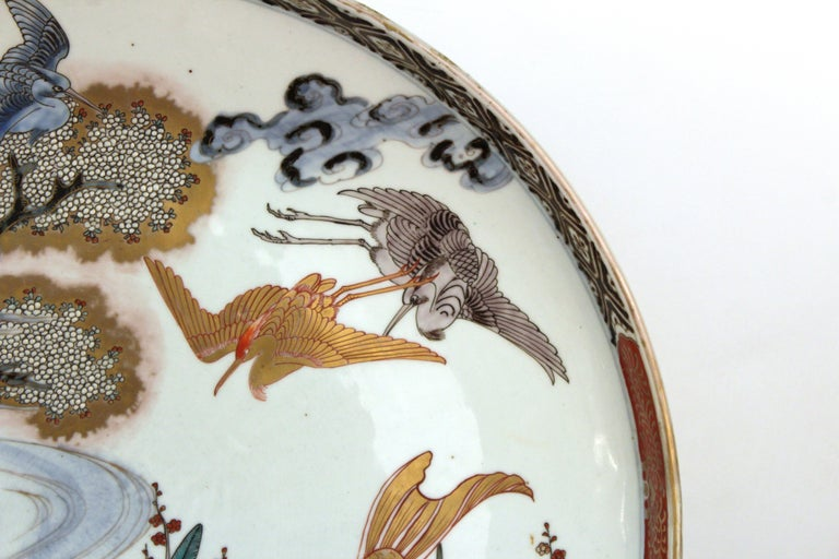 19th Century Japanese Meiji Porcelain Charger with Fish Theme For Sale
