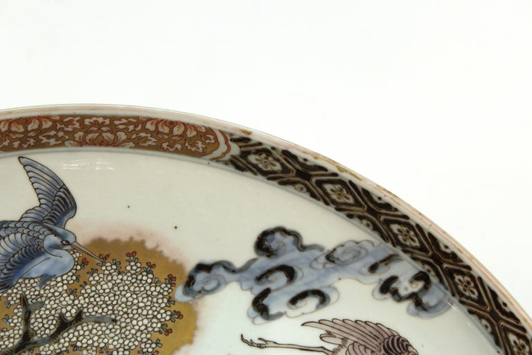 Japanese Meiji Porcelain Charger with Fish Theme For Sale 3