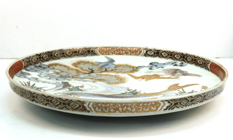 Japanese Meiji Porcelain Charger with Fish Theme For Sale 5