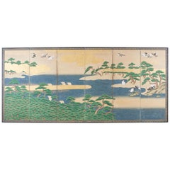 Japanese Edo Screen Hamamatsu Pine Shore with Cranes