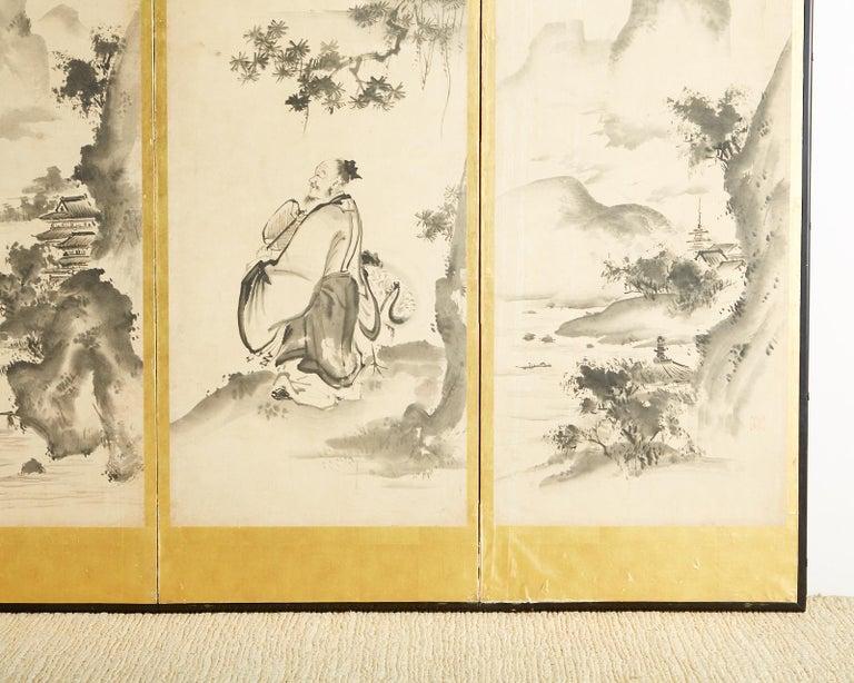 Japanese Edo Six-Panel Haboku Landscapes of Seasons For Sale 5