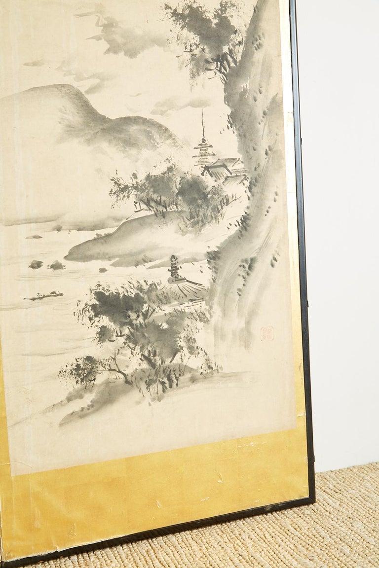 Japanese Edo Six-Panel Haboku Landscapes of Seasons For Sale 6