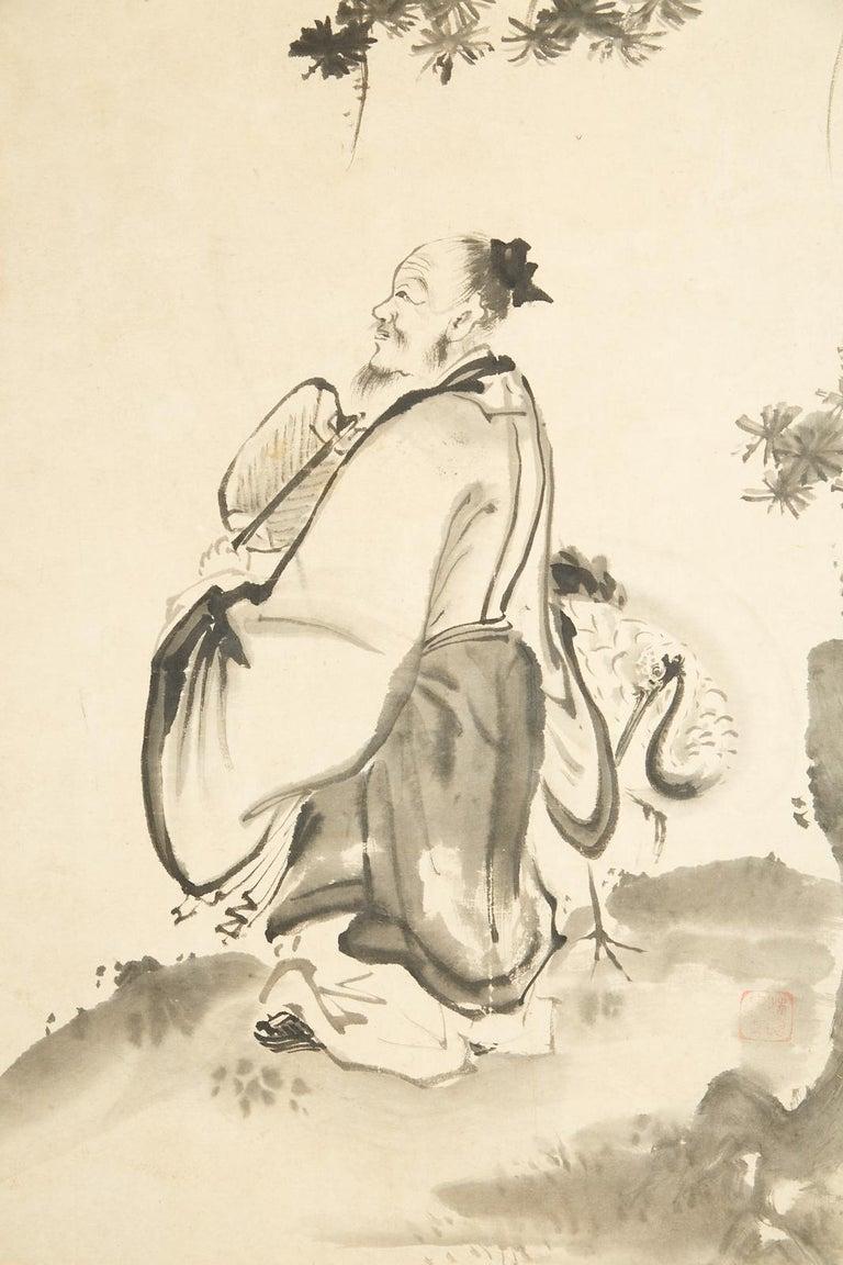 Japanese Edo Six-Panel Haboku Landscapes of Seasons For Sale 7