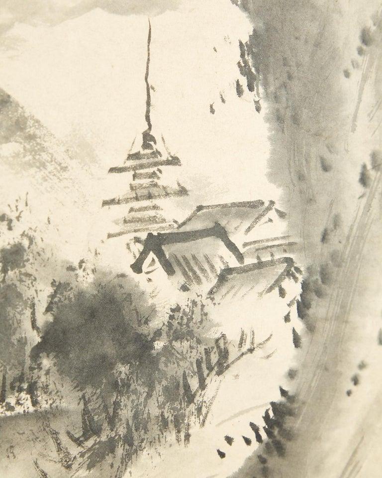 Japanese Edo Six-Panel Haboku Landscapes of Seasons For Sale 9