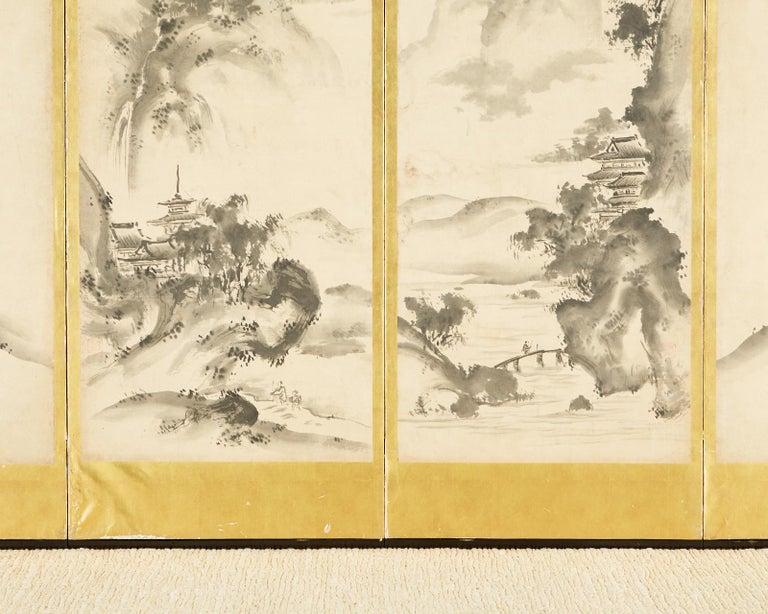 Japanese Edo Six-Panel Haboku Landscapes of Seasons For Sale 11