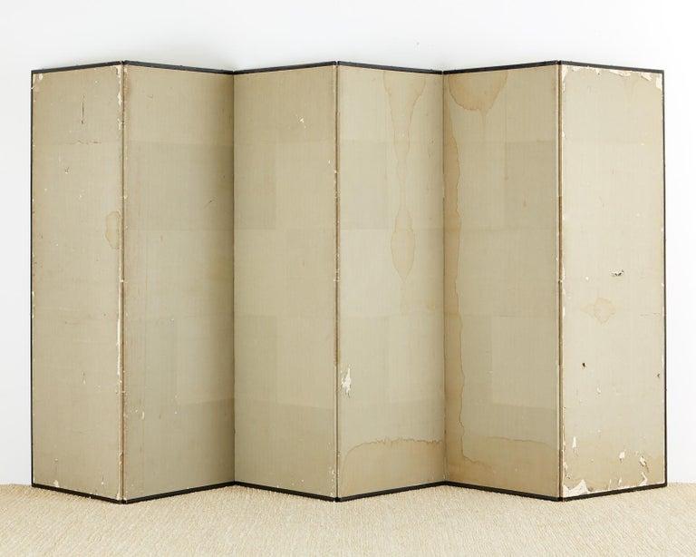 Japanese Edo Six-Panel Haboku Landscapes of Seasons For Sale 14